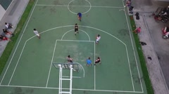 Aerial drone - outdoor basketball game - rebound Stock Footage