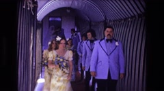 1974: a wedding party leaving the church after the ceremony BOSTON Stock Footage