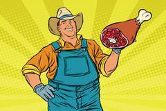 Rural retro farmer and meat leg Stock Illustration