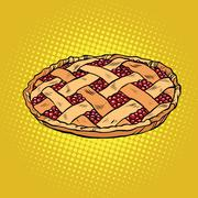 Berry pie, thanksgiving and family celebration Stock Illustration