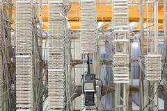 Digital cable analyzer on rack mounted server Stock Photos