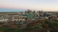 Aerial view of downtown denver from Commons Park. Stock Footage