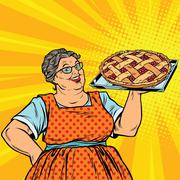 Old joyful retro woman with berry pie Stock Illustration