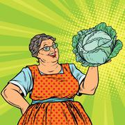 Smiling retro old woman with a head of green cabbage Stock Illustration