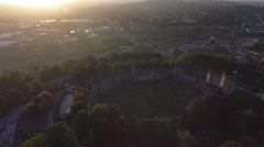 Long aerial view of a castle in Dudley, West Midlands. Stock Footage