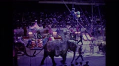 1974: elephants in sequined costumes on parade at circus BOSTON Stock Footage