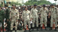 Thai King's Death Army Crowd Control Stock Footage
