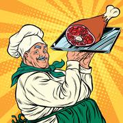 Joyful retro cook with meat foot Stock Illustration