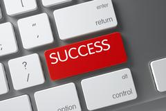 Red Success Keypad on Keyboard. 3D Stock Illustration
