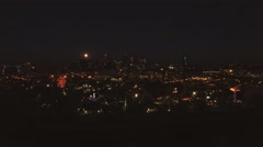 Aerial view of downtown Denver from Platte River at night. Arkistovideo