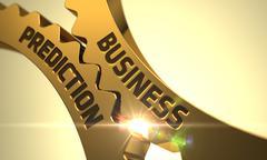 Business Prediction Concept. Golden Cog Gears. 3D Stock Illustration