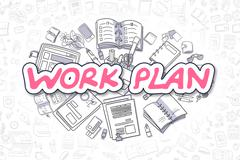 Work Plan - Cartoon Magenta Word. Business Concept Stock Illustration