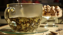 Brew Green Tea Slow Motion Stock Footage