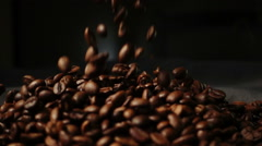Slow motion coffee beans are scattered Stock Footage