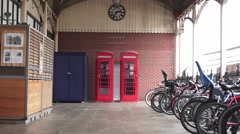 Two Red Telephone Boxes Stock Footage
