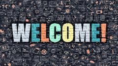 Multicolor Welcome on Dark Brickwall. Doodle Style Stock Illustration