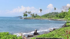 Palm trees over tropical lagoon with black beach on Bali island, Indonesia Stock Footage