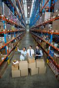 Warehouse team preparing a shipment Stock Photos