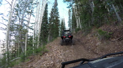 Follow recreation off road mountain forest POV 4K Stock Footage