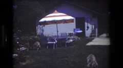 1976: typical caucasian family enjoying time in backyard on playground set  Stock Footage