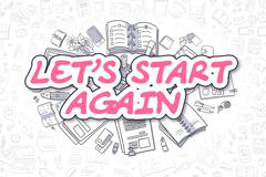 Lets Start Again - Doodle Magenta Word. Business Concept Piirros