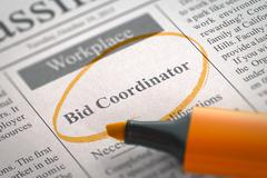 Bid Coordinator Job Vacancy. 3D Stock Illustration