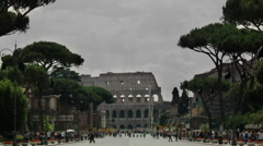 Crowded street towards the Colosseum Stock Footage