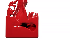 Red paint flow fills up a container slowly. Colored liquid Stock Footage
