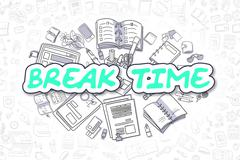 Break Time - Doodle Green Inscription. Business Concept Stock Illustration