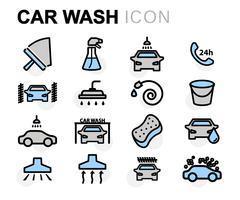 Vector flat line car wash icons set Stock Illustration