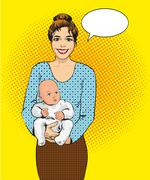 Woman holding a child vector illustration in retro pop art style. Mother with Stock Illustration