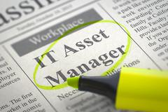 Now Hiring IT Asset Manager. 3D Stock Illustration