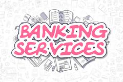 Banking Services - Cartoon Magenta Word. Business Concept Piirros