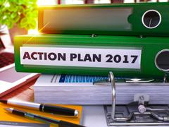Green Office Folder with Inscription Action Plan 2017. 3D Piirros