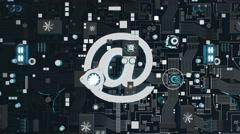 Bluish Metallic Futuristic Circuit Board with Email Icon Stock Footage