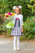 Portrait of a seven-year first-grade girl with a bouquet of flowers Stock Photos