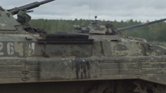 Military tank on the firing range. Establishments armored vehicle Stock Footage