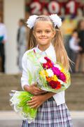 Portrait first grader girls at school Stock Photos