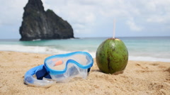 Perfect holidays. Coconut, snorkel and diving mask. Stock Footage