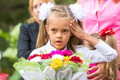 In first-grade headache before going to school the first of September Stock Photos