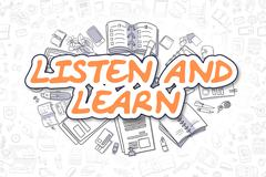 Listen And Learn - Doodle Orange Word. Business Concept Stock Illustration