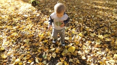 Happy Kid Walking in The Autumn Forest Stock Footage