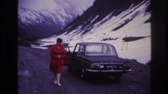 1967: we took a our first vacation to the snow covered mountains FRANCE Stock Footage