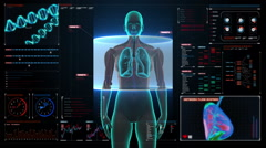 Rotating Human Female  lungs, Pulmonary Diagnostics in digital dashboard.  HD. Stock Footage