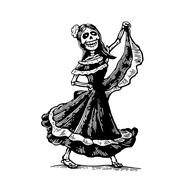 Day of the Dead, Dia de los Muertos. The skeleton in the Mexican woman nation Stock Illustration