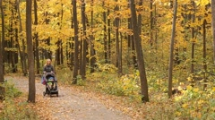 Young Mother Walking In The Autumn Forest Stock Footage