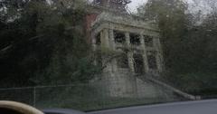 Gothic Building Viewed thru Rainy Windshield Stock Footage
