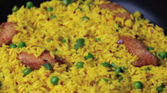 Rice with meat curry green peas cooked dish Stock Footage