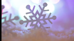 Christmas background with snowflakes and large toy Stock Footage
