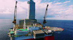 Aerial shot of off shore oil platform. Stock Footage